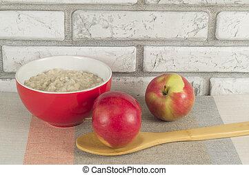 ernährung, begriff, gesunde, Hafermehl, Äpfel, fruehstueck