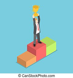 Isometric businessman standing on pedestal and holding...