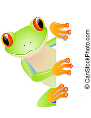 Green tree frog and blank space