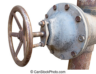 metal pipe with valve - old metal pipe with valve on a white...