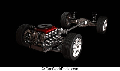 car chassis with engine - rendered in PNG with alpha car...