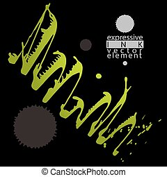 Artistic abstract dirty ink template, colorful scanned and...