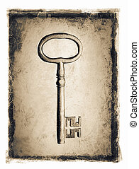 Old Key - Old key ion a grunge distressed frame