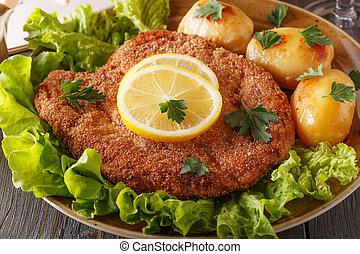Wiener schnitzel with potatoes and salad. - Wiener schnitzel...
