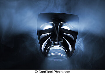 Sad Mask - Black mask with light coming from its eyes and...