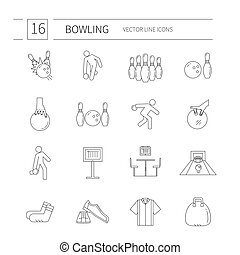 Bowling line icons set isolated on white background vector...