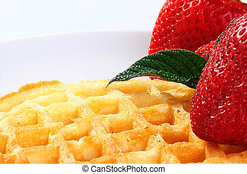 Easy dessert - Sweet wafers with a strawberry as an easy...