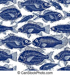 Freshwater fish endless vector pattern, nature and marine...