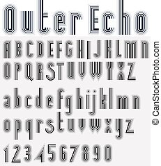 Parallel striped black and white font and numbers, light...
