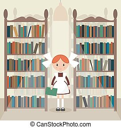Soviet cartoon schoolgirl in library. Soviet schoolgirl in...