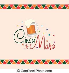 Cinco de mayo - Colored background with text and a beer icon
