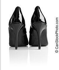 Stiletto Heels - Black shiny patent leather stiletto heel...