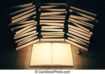 Illuminated book - Illuminated, blank open book with stacks...