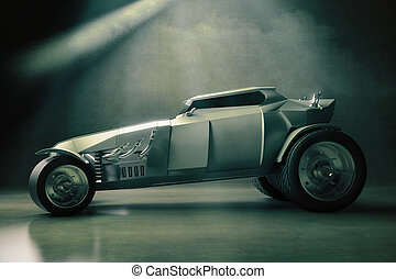 Grey Hot-Rod side - Sideview of grey Hot Rod care on...