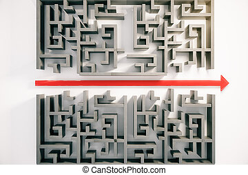 Maze with red arrow - Red arrow cutting through a...