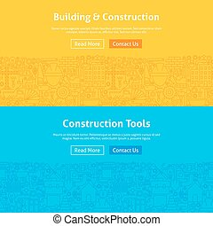 Construction Line Art Web Banners Set
