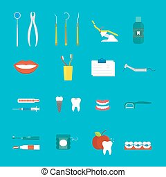 Dental hygiene medical concept flat style with cross section...