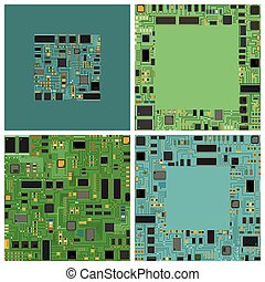 Computer chip electronic circuit board with processor flat...