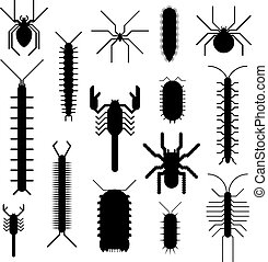 Spiders and scorpions dangerous insects animals vector...