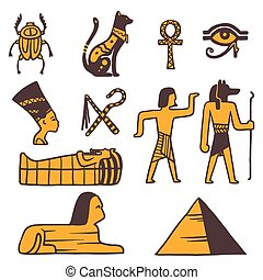 Egypt travel icons symbols - Egypt travel vector icons Egypt...