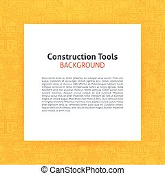Paper over Construction Tools Line Art Background