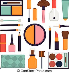 Set make up brushes and beauty fashion cosmetic icon.