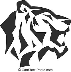 Tiger face head silhouette wild animal - Black tiger face...