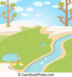 Natural green grass spring background with river, trees, birds and white clouds.