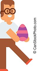 Cute little Easter kids happy child wearing colorful egg. -...