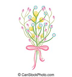 Spring wild flower bouquet vector illustration - Spring wild...