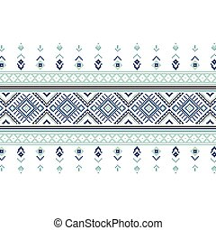Set of Ethnic ornament pattern in blue colors Vector...