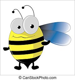 Cute cartoon bee flying on white background - vector illustration