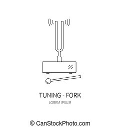 Tuning fork line icon on white background Vector...