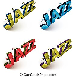 Collection of 3d shattered vector jazz word created with...