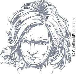Vector portrait of angry woman with wrinkles on her...