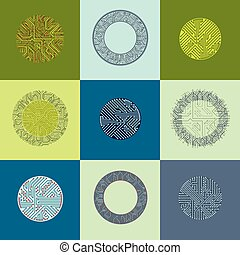 Vector abstract computer circuit boards collection, round...