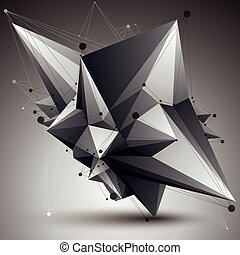 Abstract asymmetric vector monochrome object with black...