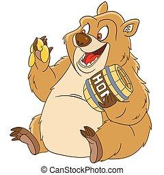 cute cartoon bear - cute and happy cartoon bear with a...