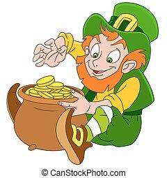 cute cartoon leprechaun St. Patrick - cute and happy cartoon...