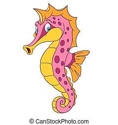 cute cartoon seahorse - cute and shy cartoon seahorse with...