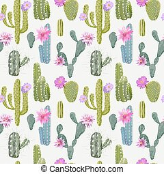 Vector Cactus Background. Seamless Pattern. Exotic Plant....