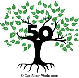 50 Years Anniversary Tree Logo - Vector Design of 50 Years...