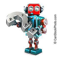Retro robot with question mark. Isolated. Contains clipping...