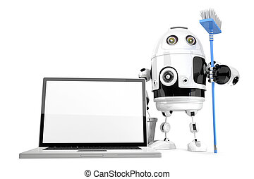 Laptop cleaning concept. Robot cleaning laptop with a mop. Isolated. Contains clipping path.