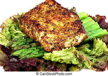 sea bass dinner - delicious grilled sea bass, seasoned with...