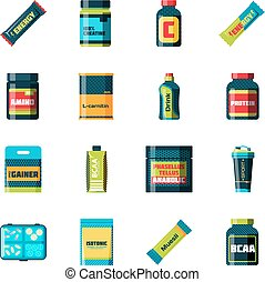 Sports food nutrition icons in flat style and long shadow....
