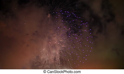 Pink Red Fireworks - Big pink, red and green violet midnight...