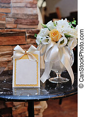 Place Settings For Bride And Groom At Reception.
