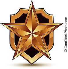 Sophisticated vector blazon with a golden star emblem, 3d pentagonal design element, clear EPS 8.
