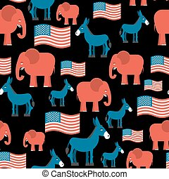 Elephant and Donkey seamless pattern. Symbols of Democrats and Republicans. Texture for election and debate in America. Democrat donkey and Republican elephant and American flag. Political background. patriotic ormanent